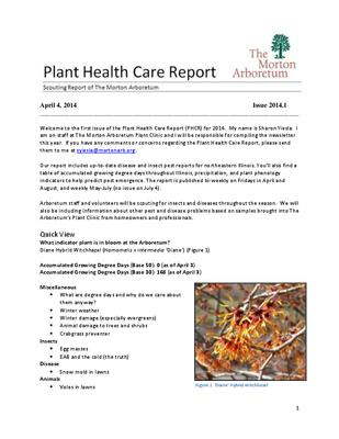 Plant Health Care Report, Issue 2014.1