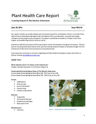 Plant Health Care Report, Issue 2014.10