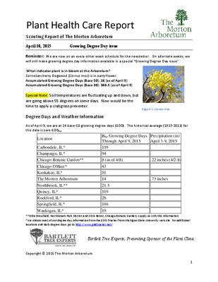 Plant Health Care Report: 2015, April 10 Growing Degree Day issue
