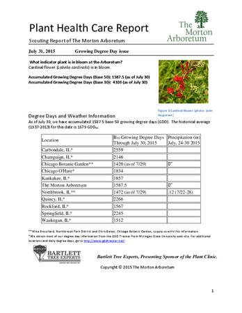 Plant Health Care Report: 2015, July 31 Growing Degree Day issue