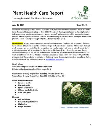 Plant Health Care Report, Issue 2015.7