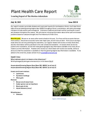 Plant Health Care Report, Issue 2015.8
