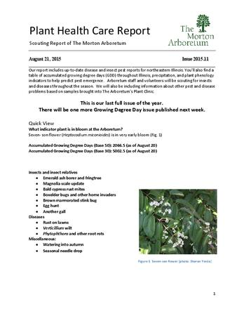 Plant Health Care Report, Issue 2015.11
