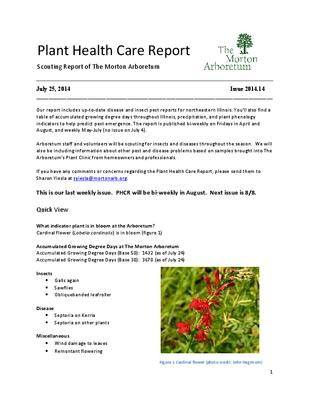 Plant Health Care Report, Issue 2014.14