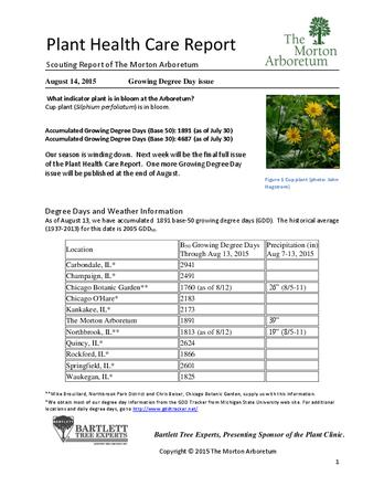 Plant Health Care Report: 2015, August 14 Growing Degree Day issue