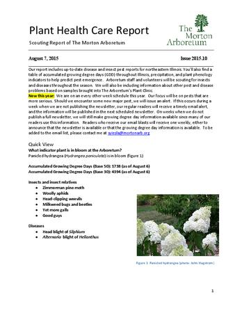 Plant Health Care Report, Issue 2015.10