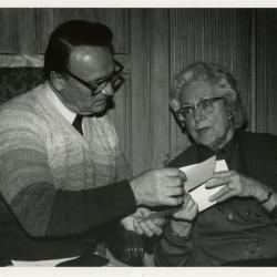 Tony Tyznik and Mrs. Godshalk at Clarence Godshalk's 90th birthday party