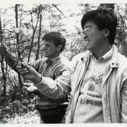 China Expedition, Kris Bachtell and Fang Huailong collecting Acer tegmentosum fruit in Fenglin National Nature Preserve, Heilongjiang Province