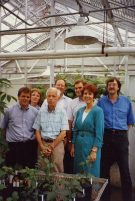 Collections and Grounds crew in greenhouse