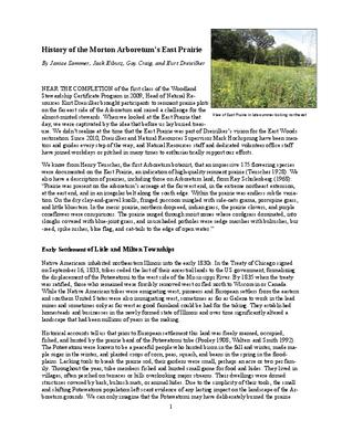 History of the Morton Arboretum's East Prairie