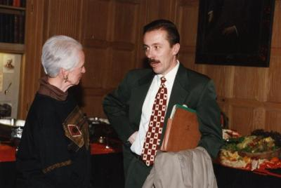 George Ware Retirement Party in Founders Room - Helen Langrill and Gerry Donnelly chatting