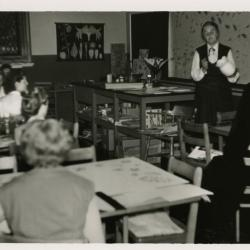 May Watts instructing class in Thornhill classroom