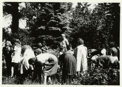 May Watts with Junior Forestry class outdoors