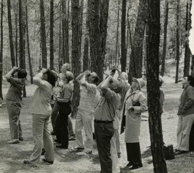 Floyd Swink with birding class in the woods