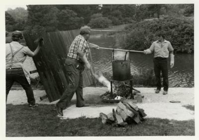 Fish Boil: Kris Bachtell and volunteers cooking fish at Meadow Lake