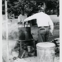 Fish Boil: Dick Wason and Tony Tyznik cooking fish outdoors