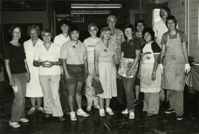 Fish Boil: group shot of workers indoors