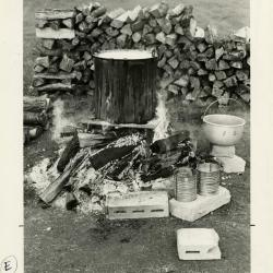 Fish boil: large pot on flame with setup