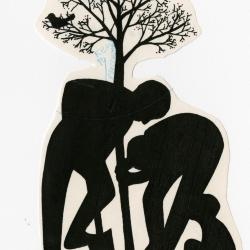 People planting trees: two men planting a tree, child kneeling