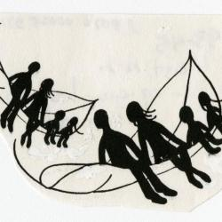 Adults and children sitting in flying leaf