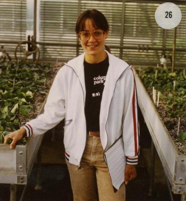 Lori Breslauer in greenhouse