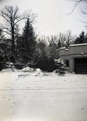 Morton residence garage entrance in winter