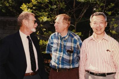 Green Nature, Human Nature book signing in Sterling Morton Library. Charles Lewis, Bill Hess, and Peter Wang in the May T. Watts Reading Garden