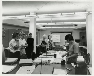 Cathy Ciolac instructing Herbarium Techniques class