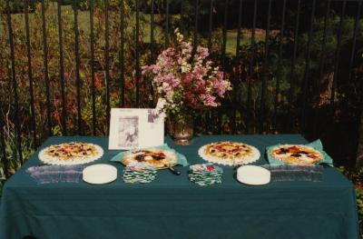 Green Nature, Human Nature book signing in Sterling Morton Library, refreshment table in May T. Watts Reading Garden