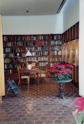 Sterling Morton Library Reading Room with poinsettias