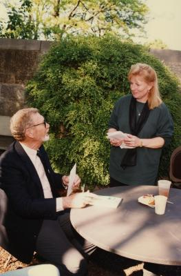 Green Nature, Human Nature book signing in Sterling Morton Library, Charles Lewis seated, Fay Wheatman standing in the May T. Watts Reading Garden
