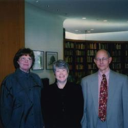 Sterling Morton Library Gala opening, Nancy Hart and Michael Steiber with keynote speaker, Charlotte Tancin, in the main reading room
