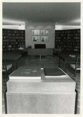 Sterling Morton Library main reading room facing fireplace