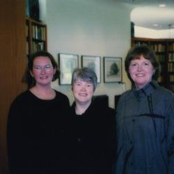 Sterling Morton Library Gala opening, Rita Hassert and Nancy Hart with keynote speaker, Charlotte Tancin, in the main reading room