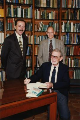 Green Nature, Human Nature book signing in Sterling Morton Library, Gerry Donnelly and Michael Stieber standing, Charles Lewis seated