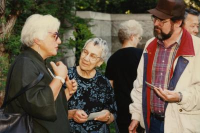Green Nature, Human Nature book signing in Sterling Morton Library, group of guests in conversation in May T. Watts Reading Garden