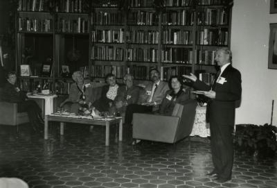 Membership Tea event in the Sterling Morton Library, Ian MacPhail addressing members