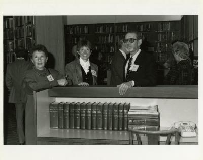 Sterling Morton Library 25th Anniversary: Elaine Fairbanks, Nancy Hart, and Charles Lewis in main reading room