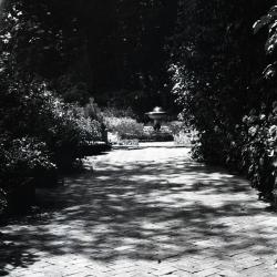 Brick path toward fountain at C. F. Hutchinson estate, Lake Geneva, WI