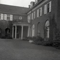 Columns and portico at front entrance to Mark Morton residence