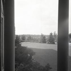 View between columns of landscape at Mark Morton residence