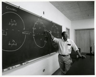 Ross Clark teaching meiosis at blackboard