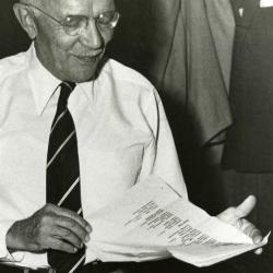 Sterling Morton holding document