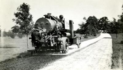 One of the first black topping road jobs done in the Arboretum