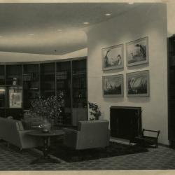 Sterling Morton Library Main Reading Room, seating area and fireplace