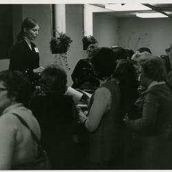 Nancy Hart lecturing for a Lunching and Learning class