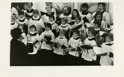 St. Luke's (Evanston) choir Christmas concert in the Sterling Morton Library, closeup of singers