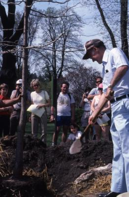 Dr. Marion T. Hall planting tree with crowd at Arborfest