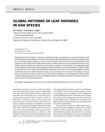 Global patterns of leaf defenses in oak species