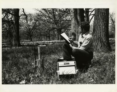 Steve Messenger measuring soil moisture with nuclear moisture probe in Daffodil Glade